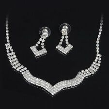 2016 Statement BIB Choker Necklace Earrings Crystal Tennis Silver Jewelry Set