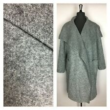 Italian Lagenlook Boiled Wool Duster Coat Charcoal Grey Light Warm Size 12-22