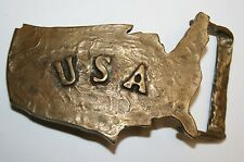 Vintage Custom Hand Made USA Shaped 1970s BIKER Trucker Brass Belt Buckle RARE