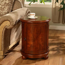 Wood End Table Coffee Living Room Den Sofa Side Home Decor Wooden Drum Cherry