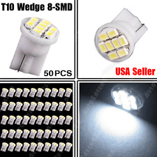 50PCS Pure White T10 8SMD Side Wedge LED Light Bulb W5W 194 168 2825 158