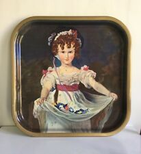 Rare Vintage Worcester Ware Tin Pub Tray - Painting Young Girl Petals - British