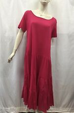 Victoria Hill BNWT Size 14 Fits 14 16 Bright Pink Crinkle Tiered Cotton Dress
