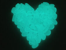 100pc Glow in the Dark pebbles / stones, AQUA BLUE - Home, Garden, Aquarium