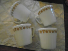 4 VINTAGE PYREX BUTTERFLY GOLD D HANDLE COFFEE MUGS CUPS