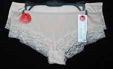 Marilyn Monroe Panties Size XL 2 Pack Pink Nylon Solid Lace Trim Hipster Womens