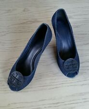 TORY BURCH Denim Navy sandals wedge shoes size 7M