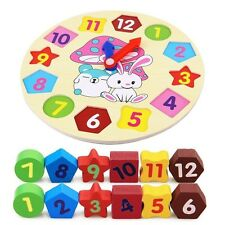 Kids Wooden Toys Rabbit Alarm Clock Puzzle Matching Play Digital Learning Blocks