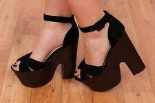 Chunky wooden black suede TOPSHOP platform heels Glack rock 70s 90s Laurent