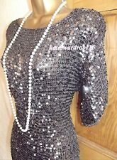 Stunning ❤️ WALLIS SIZE 12 - 14 Dark Silver Sequin Flapper Gatsby 1920's Dress
