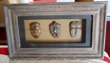 AFRICAN MINIATURE MASKS SET OF THREE IN MATTED AND GLASSED WOODEN SHADOW BOX