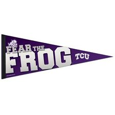 """TCU HORNED FROGS FEAR THE FROG ROLL UP PREMIUM FELT PENNANT 12""""x30"""" NEW WINCRAFT"""