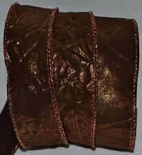 Wired Ribbon~Fall Metallic Brown Copper Color-Change~Crinkle~Wreath~Gift~Bow