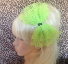 BIG BRIGHT NEON GREEN LACE BOW ALICE HAIR HEAD BAND 80s RETRO PARTY FANCY DRESS