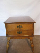 Ethan Allen Heirloom Two Drawer Commode End Table