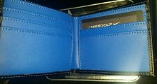 NEW NIKE GOLF MEN'S BILL FOLD FAUX LEATHER WALLET BLACK & BLUE.
