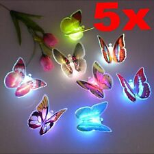 5Pcs Colorful Changing Butterfly Home Room LED Night Lamp Party Desk Wall Decor