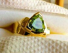 14K Solid GOLD RING GENUINE AAA Trillion ARIZONA PERIDOT size: see description