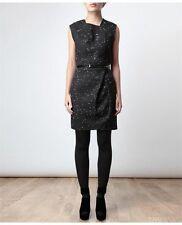 3.1 PHILLIP LIM Black White Wool Tweed Folded Pencil Cocktail Sleeveless Dress 2