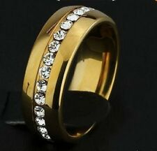 GOLD PLATED STAINLESS STEEL CRYSTAL MENS,WOMENS WEDDING RING.SIZE: N, P, S, T