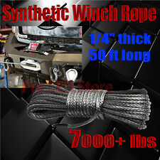 """50'X1/4""""Dyneema Synthetic Winch Rope Cable 7000 LBs ATV SUV Recovery Replacement"""