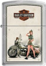 Zippo HD Harley Davidson 1940's WWII US Army Pinup Satin Chrome Lighter NEW