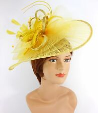 New Church Derby Wedding Pleated Fascinator Hat Headband 2450 Yellow