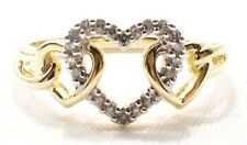 10k Solid Gold Ring 3 Hearts Intertwined Diamond Accents Love Free Shipping