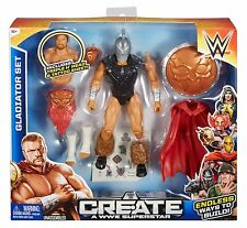 WWE CREATE A WWE SUPERSTAR GLADIATOR SET W/ TRIPLE H HEAD & TATTOO *NEW*