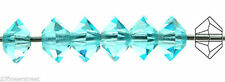 36 Czech MC Spacer Beads (Squished Diamond shape 5305) 3x5mm, Aqua color