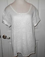 GAP = WHITE BURNOUT LOOSE FIT = S/SLEEVE T-SHIRT = WOMEN'S L