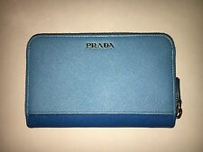 NEW PRADA Wallet Saffiano Leather in Blue