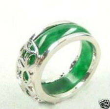 Beautiful Tibet silver natural green jade ring size 8#