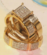 Man's And ladies Yellow  Gold Wedding Band & Engagement Ring Trio Set his /hers