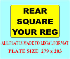 CAR NUMBER PLATE 1 SQUARE REAR REGISTRATION PLATE DVLA/MOT LEGAL FREE FIXINGS