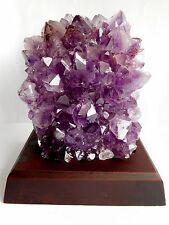 Large Amethyst Points Crystal Cluster On Wooden Stand 585g Reiki Healing Calming