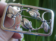 Georg Jensen Danish Silver Floral Brooch 295  Denmark - London Import 1960/61/62