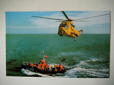 RNLI Waveney Class Self Righting with RAF Helicopter Lifeboat Old Postcard