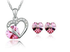 Trends & Lions Color of Love Pink Heart Pendant and earrings set