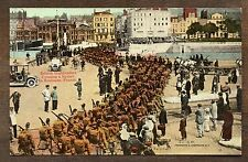 1915 British Highlanders Crossing Square Boulogne France ~ WW1 Vintage postcard