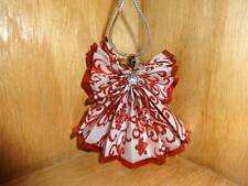 Vintage Ribbon Angel Handmade Holiday Christmas Tree Ornament Red White