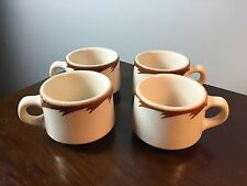 4 VTG STERLING China Vitrified HEAVY Diner Coffee Cup/Mugs Restaurant Ware
