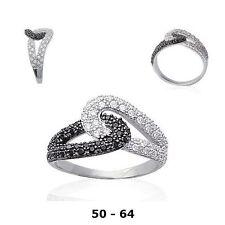 Bague Rhodié T50 Pavé Diamant Cz Black White Argent Massif 925 Dolly-Bijoux