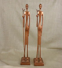Contemporary Modern Pair Bronzed African Zulu Warrior Ornament Statue Figure Men