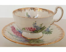 Fancy Aynsley Delphinium Cup and Saucer Heavy Gold Borders