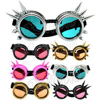CYBER GOGGLES WELDING VINTAGE VICTORIAN STEAMPUNK GOTH ANTIQUE COSPLAY + UV lens