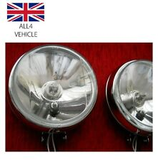 "PAIR 6"" ROUND FRONT BULL BAR GRILLE LIGHT BAR CHROME SPOT LIGHTS TRUCK LORRY SUV"