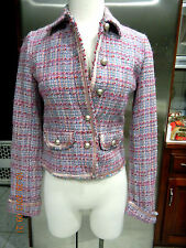 ABERCROMBIE & FITCH WOMENS WOOL TWEED JACKET BLAZER PINK BLUE SZ S