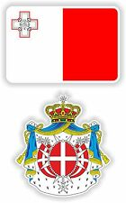 MALTA flag + coat of arms 2x stickers decals bandiera