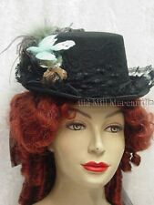 Victorian Steampunk Edwardian style riding top hat Black and sea green 2790FB